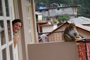 My yogini neighbour, Elsa, wiith the cheeky intruder