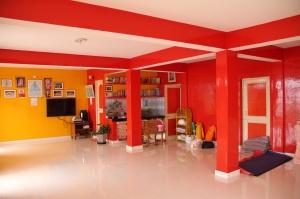 Vibrant and happy yoga room