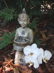 Peaceful garden buddha