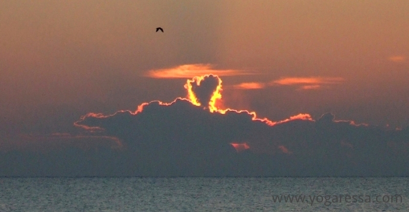 Heart cloud at sunrise - when you look for love, you'll see it